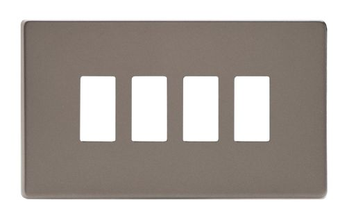 Varilight XDRPGY4S Screwless Pewter 4 Gang PowerGrid Plate (Twin Plate)